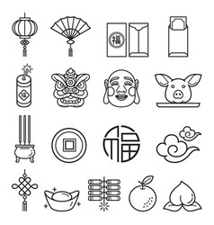 Chinese new year icons set llustrations vector