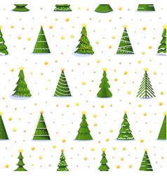 christmas fir tree and 3d gold stars seamless vector image