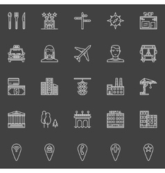 City or town icons vector