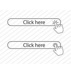 Click here in linear style and hands clicking vector