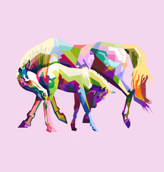 Colorful horses in love vector