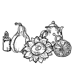 Coloring page in with household autumn elements vector