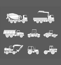 Construction machines icons set silhouette vector