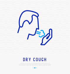 coughing man thin line icon vector image