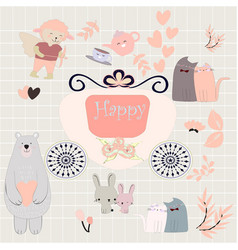 cute animal sticker vector image
