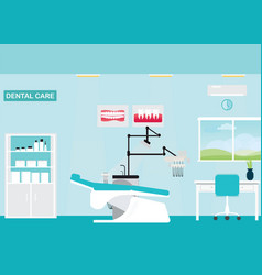 Dental care clinic or dentist office interior vector