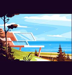 designer house on seashore vector image