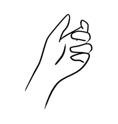 Drawing hand holding something transparent vector