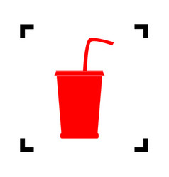 drink sign red icon inside vector image