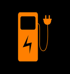electric car charging station sign orange icon on vector image