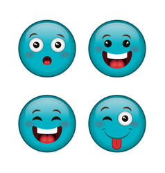emoticons faces characters icons vector image