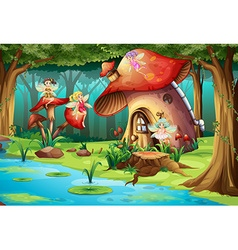 Fairies flying around mushroom house vector