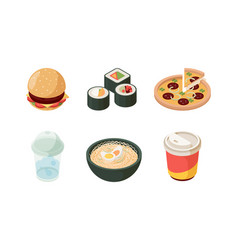 fast food isometric burger sushi pizza cold vector image