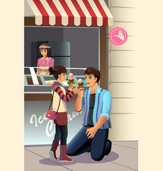 father daughter eating ice cream vector image