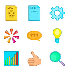 File search icon set cartoon style vector