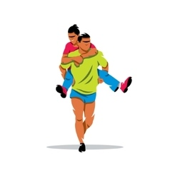 Finnish jogging with their wives Cartoon vector
