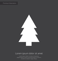 Fir-tree premium icon white on dark background vector