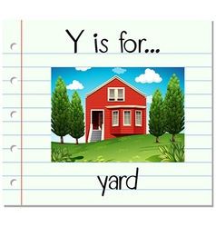 Flashcard letter y is for yard vector