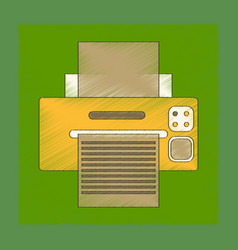 Flat shading style icon computer printer vector