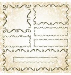 floral leaf frame set vector image vector image