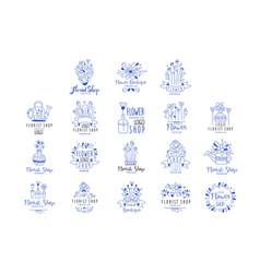 Florist shop logo premium set flower boutique vector