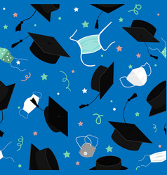 Funny graduation seamless pattern with bonnets vector
