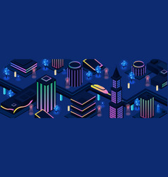 future city night streets background vector image