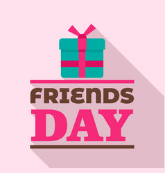 Gift box friends day logo flat style vector