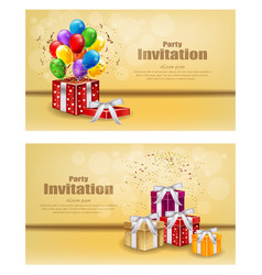 Gifts and balloons party invitation card vector