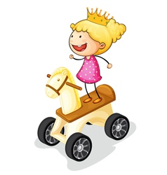 girl on toy horse vector image