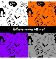 Halloween seamless pattern set vector image