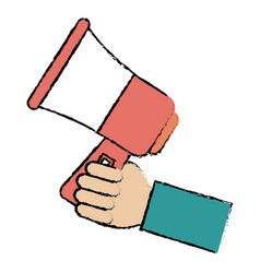 hand human with megaphone sound isolated icon vector image
