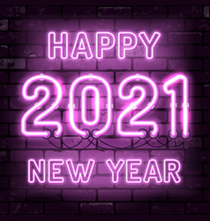happy new year 2021 neon signboard vector image