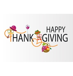Happy Thanksgiving Day hipster logotype badge and vector