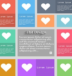 Heart Love icon sign Set of multicolored buttons vector image