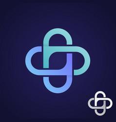 infinity cross health technology icon symbol vector image