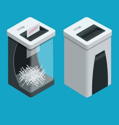 isometric personal paper shredder two documents vector image