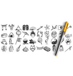 Japan doodle set vector
