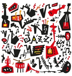 jazz instruments - doodles set vector image
