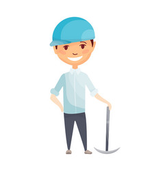 kid builder little worker in helmet children vector image