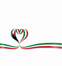 kuwaiti flag heart-shaped ribbon vector image