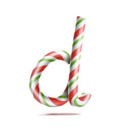 letter d 3d realistic candy cane alphabet vector image