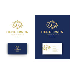 luxury logo monogram crest template design vector image