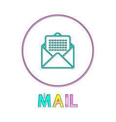 mail round bright linear icon with envelope symbol vector image