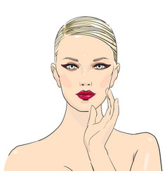 Makeup cosmetics stylish original hand-drawn vector