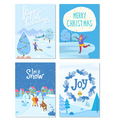 merry christmas and happy new year cards set vector image