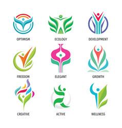 nature ecology logo set human character vector image
