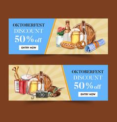 Oktoberfest banner design with beer pretzel vector