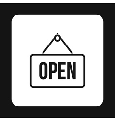 Open sign icon simple style vector image