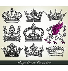 Ornamental heraldic crown set vector